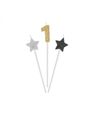 3 candele di compleanno numero dorato e stelle 16 cm-1