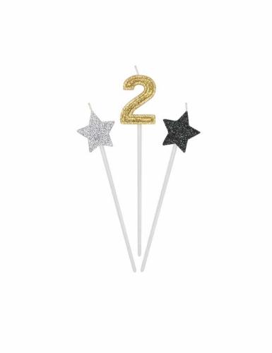 3 candele di compleanno numero dorato e stelle 16 cm-2