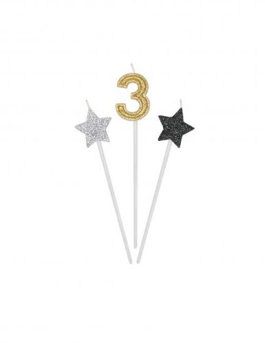 3 candele di compleanno numero dorato e stelle 16 cm-3