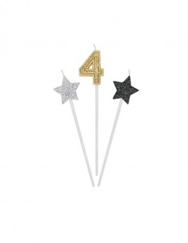 3 candele di compleanno numero dorato e stelle 16 cm-4