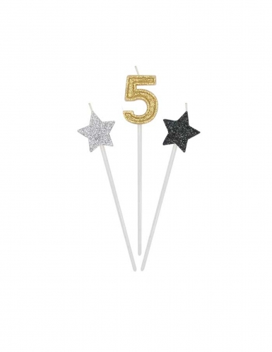 3 candele di compleanno numero dorato e stelle 16 cm-5