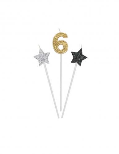3 candele di compleanno numero dorato e stelle 16 cm-6