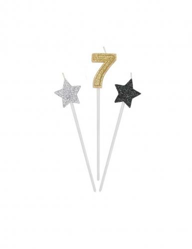 3 candele di compleanno numero dorato e stelle 16 cm-7