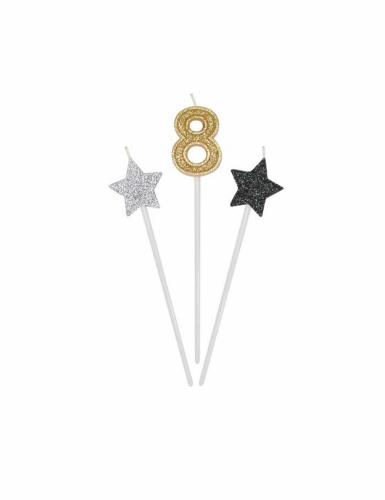 3 candele di compleanno numero dorato e stelle 16 cm-8