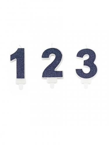 Candela a forma di numero blu con brillantini 7 cm