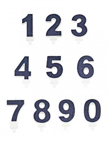 Candela a forma di numero blu con brillantini 7 cm-1