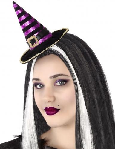 Mini cappello da strega nero e viola adulto
