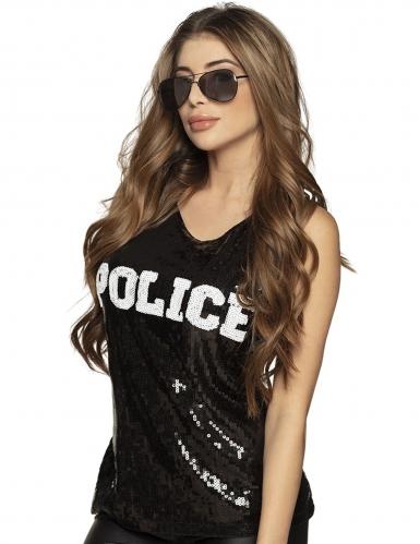 Canottiera polizia con paillettes nere per donna