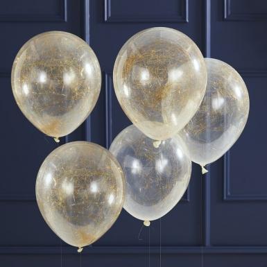 5 palloncini in lattice trasparenti a fili dorati -1