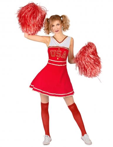 Costume pompon girl USA rosso donna