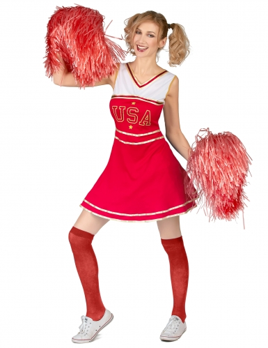 Costume pompon girl USA rosso donna-1