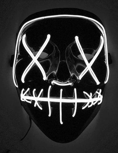 Maschera led luminosa bianca adulto