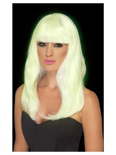 Parrucca lunga bianca fosforescente donna