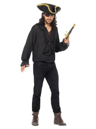 Camicia nera da pirata per uomo