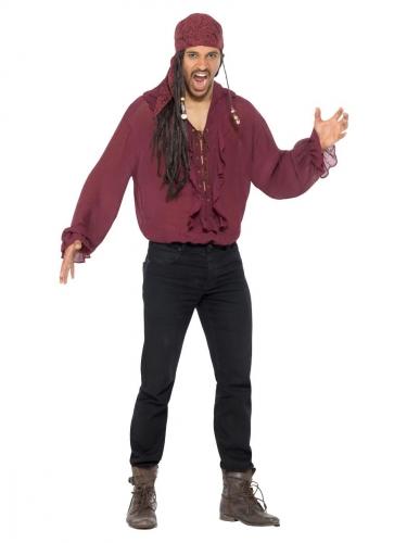 Camicia bordeaux da pirata uomo