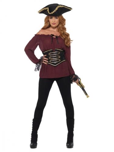 Camicia bordeaux da pirata donna
