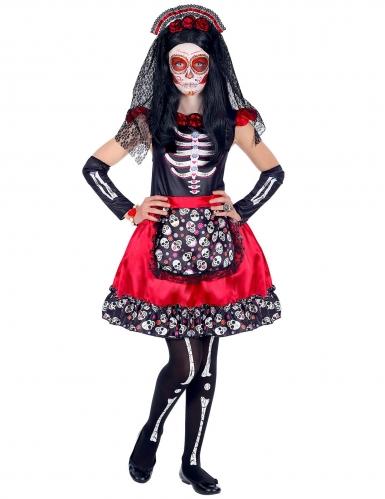 Costume dia de los muertos nero e rosso bambina-1