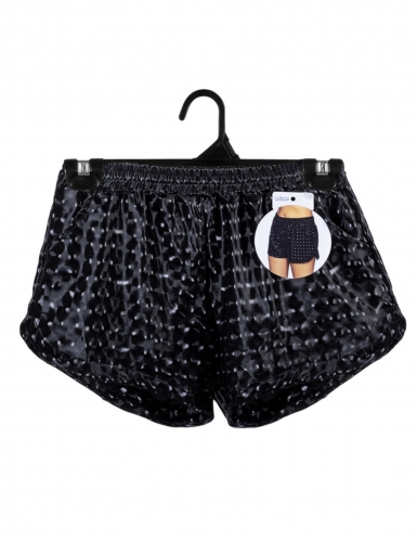 Pantaloncini sportivi neri con brillantini per donna-2