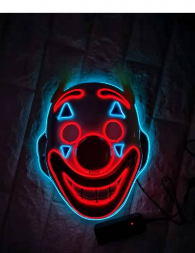 Maschera da clown psicopatico con LED per adulto