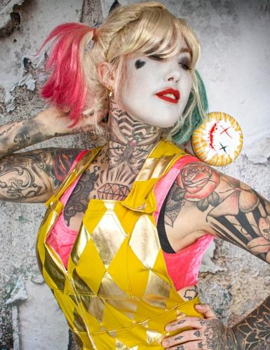 Salopette dorata Harley Quinn Birds of Prey™ donna-2