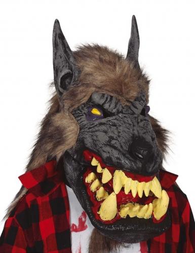Maschera lupo mannaro con pelo adulto