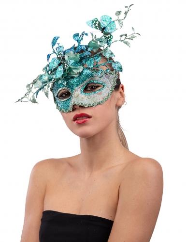 Maschera celeste con rami e farfalle donna
