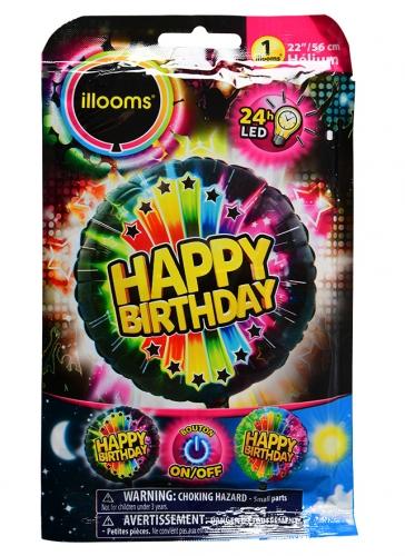 Palloncino alluminio Happy Birthday led Illoms™ 50 cm