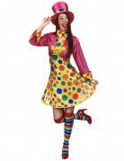 Costume clown donna con cappello rosa