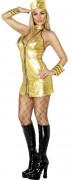 Costume dorato da hostess di aereo sexy donna