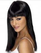 Parrucca nera lunga con frangia donna