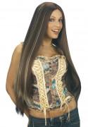 Parrucca lunga con ciocche bionde donna