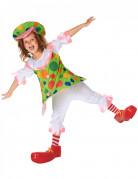 Costume da clown a pois per bambina con cappello