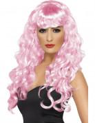 Parrucca rosa da sirena ondulata donna