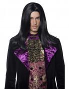 Parrucca lunga nera da conte di Halloween