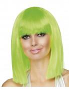 Parrucca caschetto media lunghezza verde fluorescente donna