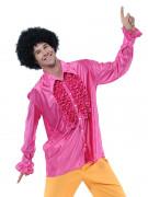 Camicia disco rosa satinata da uomo