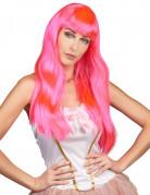 Parrucca lunga rosa fluo donna