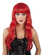 Parrucca lunga rossa con frangia donna