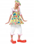 Costume clown donna con cappello a pois