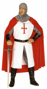 Costume cavaliere medievale con mantello rosso uomo