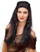 Parrucca nera con trecce per donna