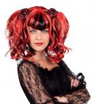 Parrucca rossa e nera con codini donna