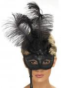 Maschera con piume nere adulto