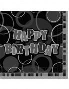 16 Tovaglioli in carta Happy Birthday grigi e neri