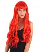 Parrucca lunga ondulata rossa da sirena per donna