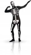 Costume seconda pelle da scheletro per Halloween fosforescente