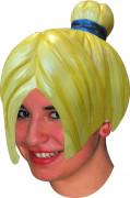 Parrucca manga giallo in lattice adulta donna