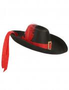 Cappello da moschettiere nero e rosso per adulto