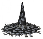 Cappello strega nero e grigio Halloween