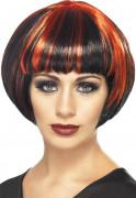 Parrucca carré nera e rossa donna